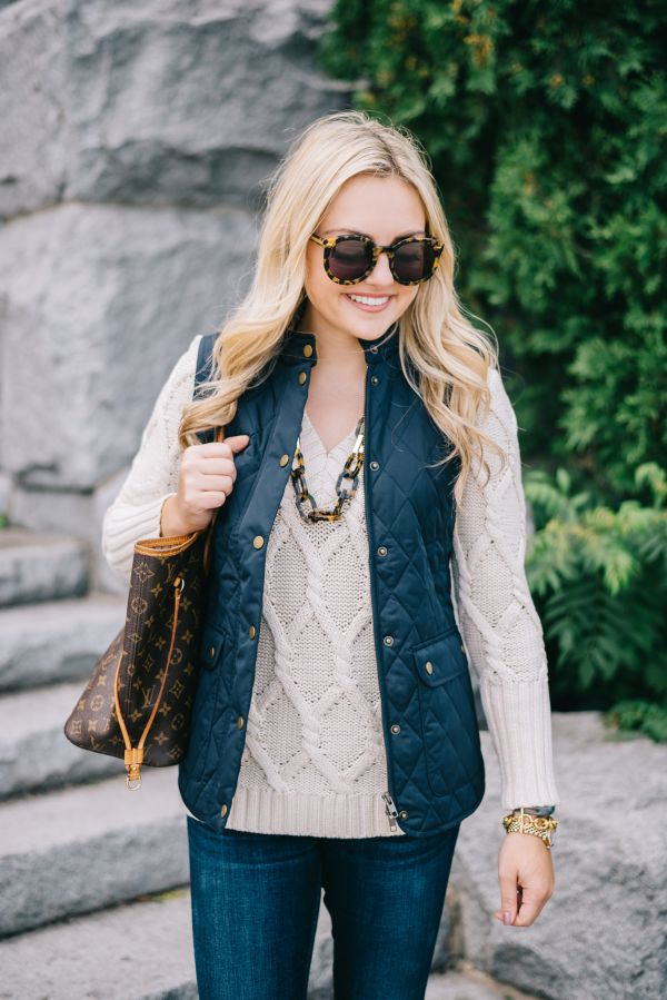 Fall Outfit // Quilted Vest + Cable Knit Sweater