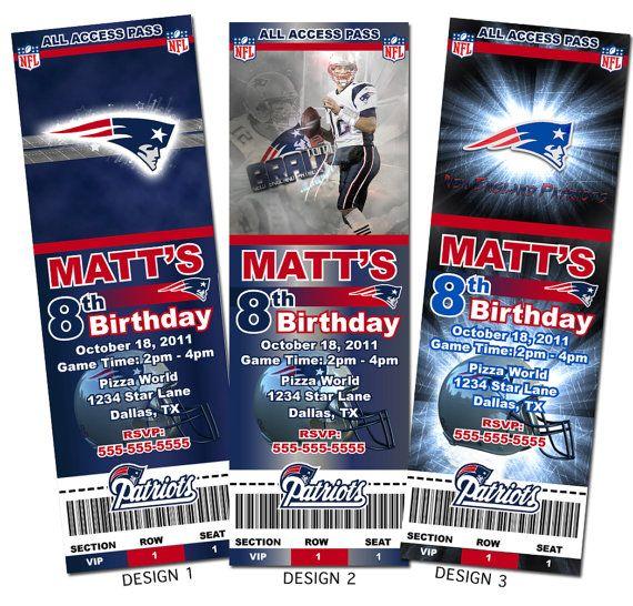 New England Patriots NFL Custom Party Ticket by KVinvites