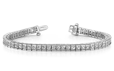 Angara Princess Cut Diamond and Emerald Tennis Bracelet in White Gold