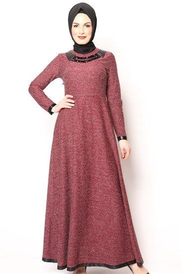 Tesettür Elbise Kolyeli Karyağdı Bordo 2505