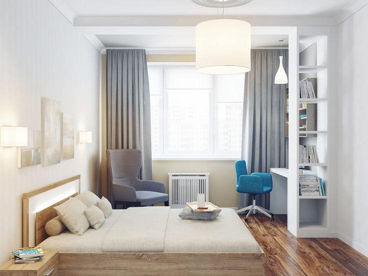интерьер спальни с рабочим столом