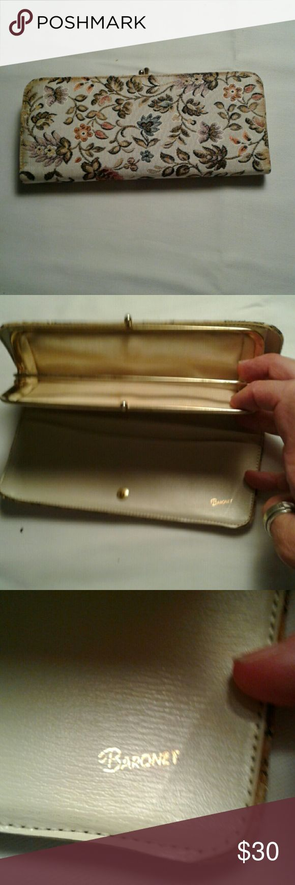 """Vintage  Baronet  Wallet Floral Tapestry  wallet in very good condition.  Sold""""As Is"""" Baronet Bags Wallets"""