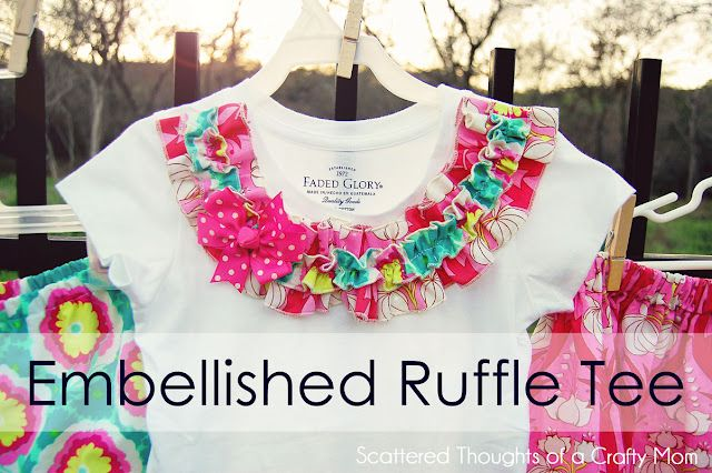How to make an embellished ruffle tee: Thoughts Of You, Crafty Mom, Scatter Thoughts, Kids Fashion, Ruffles Tees, Embellishments Tees, Embellishments Ruffles, Ruffles Shirts, Kids Clothing