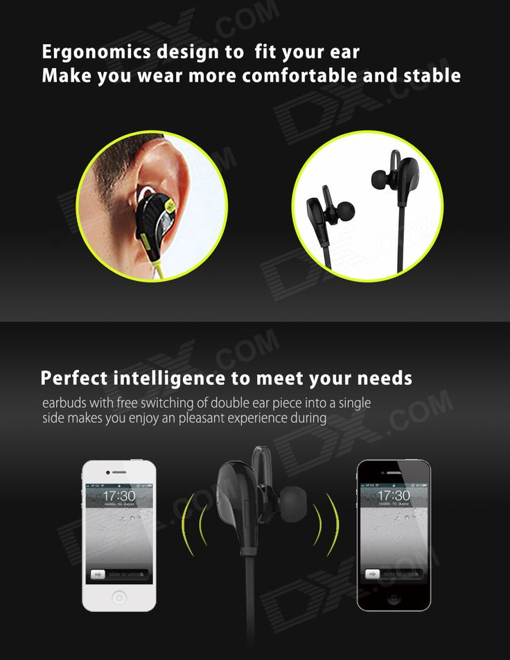 Outdoor Sports Bluetooth V4.0 In-Ear Earphone w/ Mic - Black - Free Shipping - DealExtreme