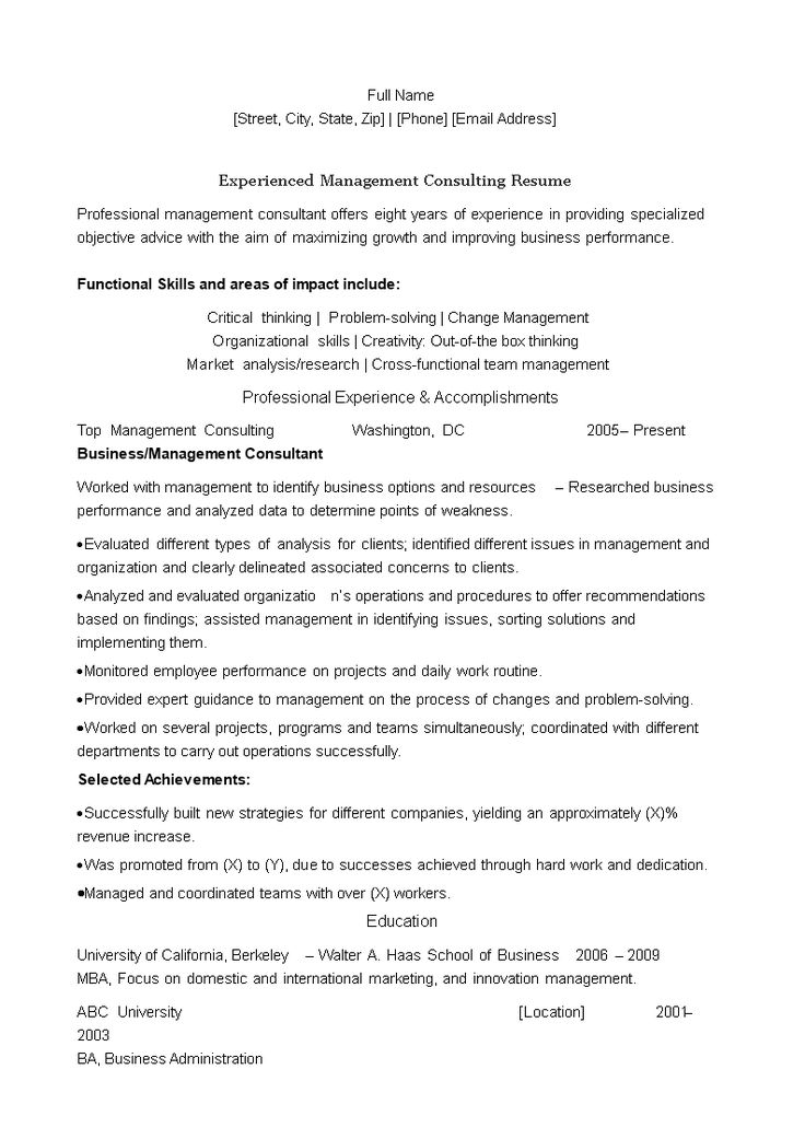 Experienced management consulting resume how to draft an
