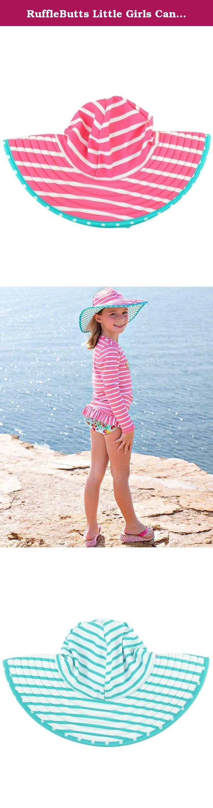 RuffleButts Little Girls Candy & Aqua Striped Reversible Wide Brim Swim Hat - Candy - 3T-6. Keep your little girl protected from the sun in this wide-brim, swimwear sun hat. Pair with a coordinating swimsuit for a complete look for your beach baby!.