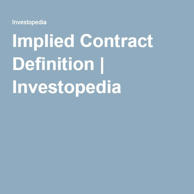 Implied Contract Definition | Investopedia
