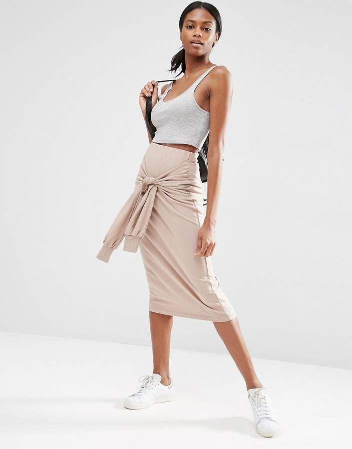 Cool Skirt!  ASOS Pencil Skirt in Sweat with Tie Sleeve Detail #asos #pencilskirt #skirt #womensfashion #2018 #spring #summer