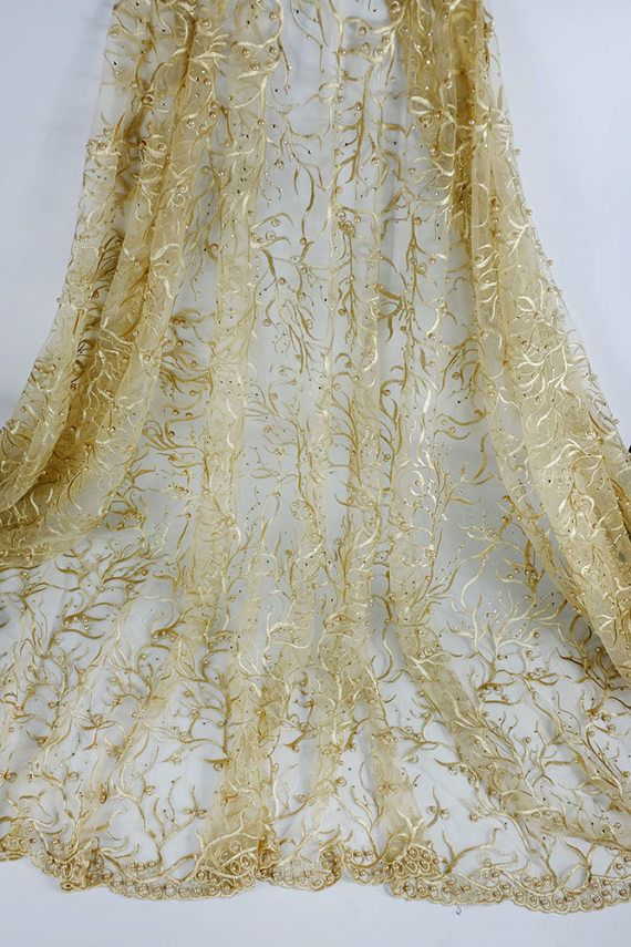 On Sale/ 5 Yards Champagne Gold Tulle Lace with Beads and Stones on Mesh Linning