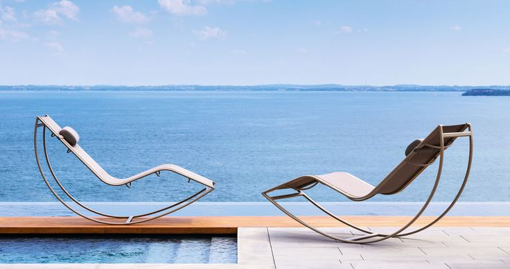 lounger rocking sunbed chair outdoor pool side garden terrace hotel aluminium karim rashid luxury furniture