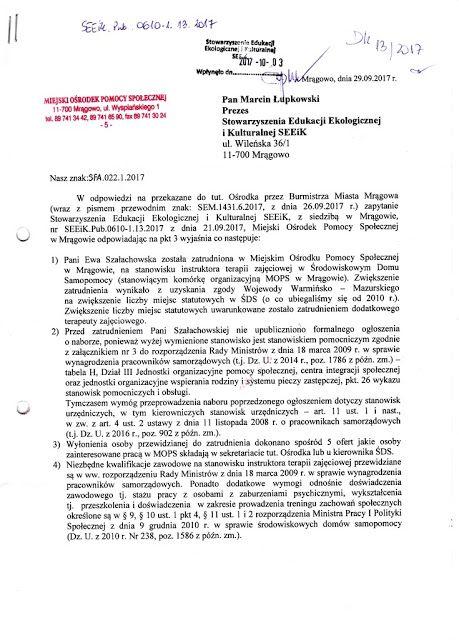 Zapiski Mazurskie: Decyzja o wyborze i zatrudnieniu należała wyłączni...