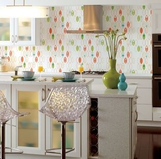 Whimsical wallpaper to make the kitchen cheerier. (Photo by York Wallcoverings, www.yorkwall.com)