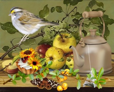 Still Life with Bird - spring, still life, aple, tea, bird, yellow