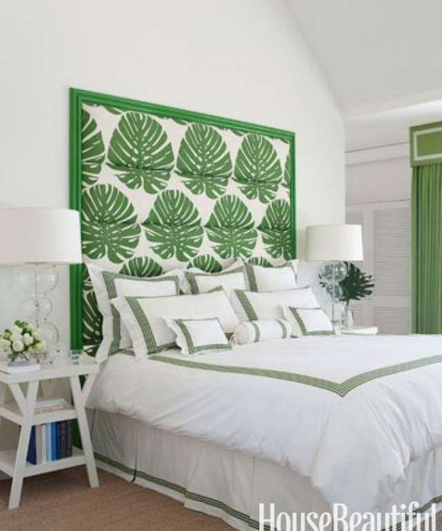 If flower power isn't your thing, add greenery with a statement piece. The botanical headboard deliv... - NGOC MINH NGO