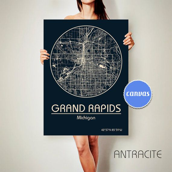 GRAND RAPIDS Michigan CANVAS Map Grand Rapids Michigan Poster City Map Grand Rapids Michigan Art Print Grand Rapids Michigan poster Grand Rapids Michigan map art Poster Grand Rapids Michigan map  Get a discount on this map! To see all offers, click here: https://www.etsy.com/shop/ArchTravel?ref=hdr_shop_menu&section_id=19169258  ♛COLORS, QUALITY AND DETAILS:  ★Impressive High Detailed Map  ★Stylish BAUHAUS Design!  ★The DEEP RICH COLORS!  ★Best quality. Fabul...