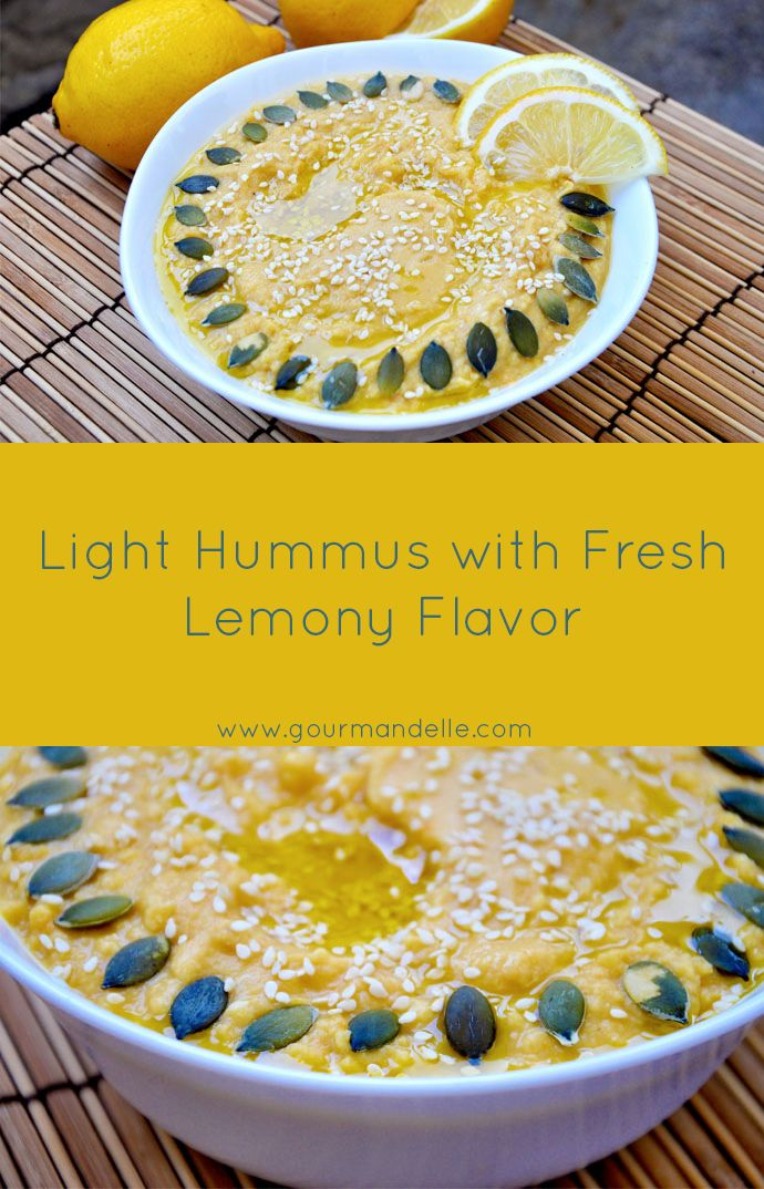This is a light hummus recipe, ideal for summer! This light hummus recipe has a fresh, lemony taste and it is served with raw pepitas! | gourmandelle.com | #vegan #hummus