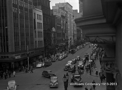 1947 - traffic and parking in Collins St, Melbourne. Looking west. From our archives, preparing for the VicRoads Centenary 1913-2013.