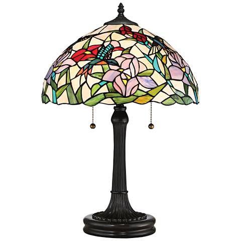 Quoizel Hummingbird Vintage Bronze Tiffany Style Table Lamp - #16P62 | Lamps Plus