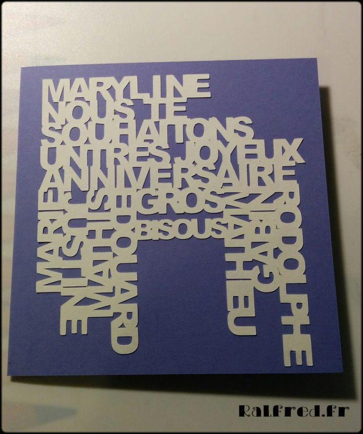 Carte d'anniversaire : assemblage de lettres découpées avec la Silhouette Portrait