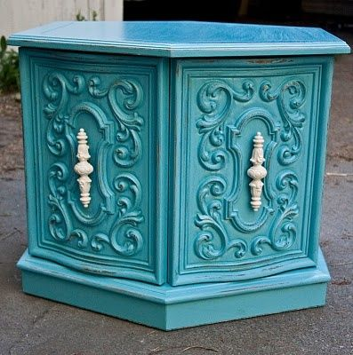 Modernly Shabby Chic Furniture. Great improvement to 1970's Mediterranean furniture