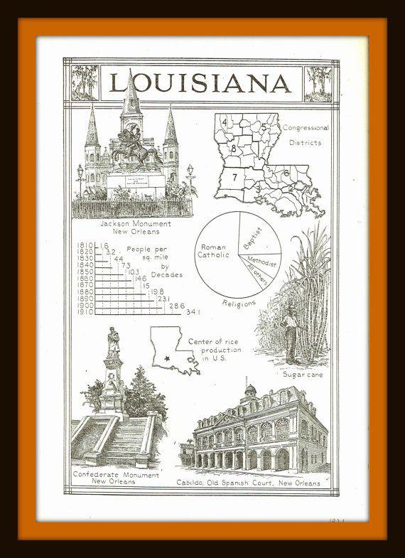 1921 Facts About Louisiana vintage print- Ephemera, nostalgia, for decor, to frame