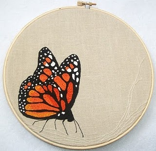 Butterfly Embroidery #butterfly #monarch #embroidery: Beautiful Butterflies, Butterfly, Hoop Art, Split Stitch, Craft Tutorials, Embroidery Stitches, Embroidery Hoop, French Knots, Crafts