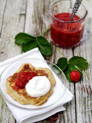 [kjøkkentjeneste]: Frokostlapper med rørte jordbær
