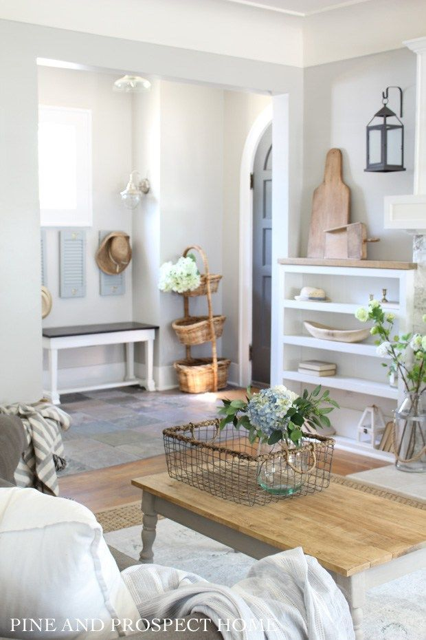 Farmhouse Tour Friday {vol.14} – Gorgeous bright & airy farmhouse style entryway and living room.  Loving the neutral colors and raw textures of the f…