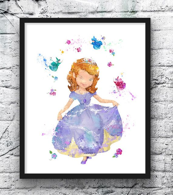 Princess Sofia The First Watercolor Print, Disney Art, Movie Poster, Talking Animals, Wall Art, Baby Girl, Kids Room Decor, Nursery Art This prints are reproductions of my artwork. I am full time artist from Europe. This is a high quality giclee print, kids poster. Printed on Archival Fine Art paper. In giclee printing, no screen or other mechanical devices are used and therefore there is no visible dot screen pattern. It has a museum quality appearance.  The print size is: 5 x 7. The price…