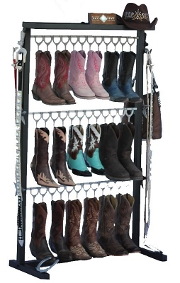custom boot rack decor and organization custom cowboy boots boot rack shoe shelf diy. Black Bedroom Furniture Sets. Home Design Ideas
