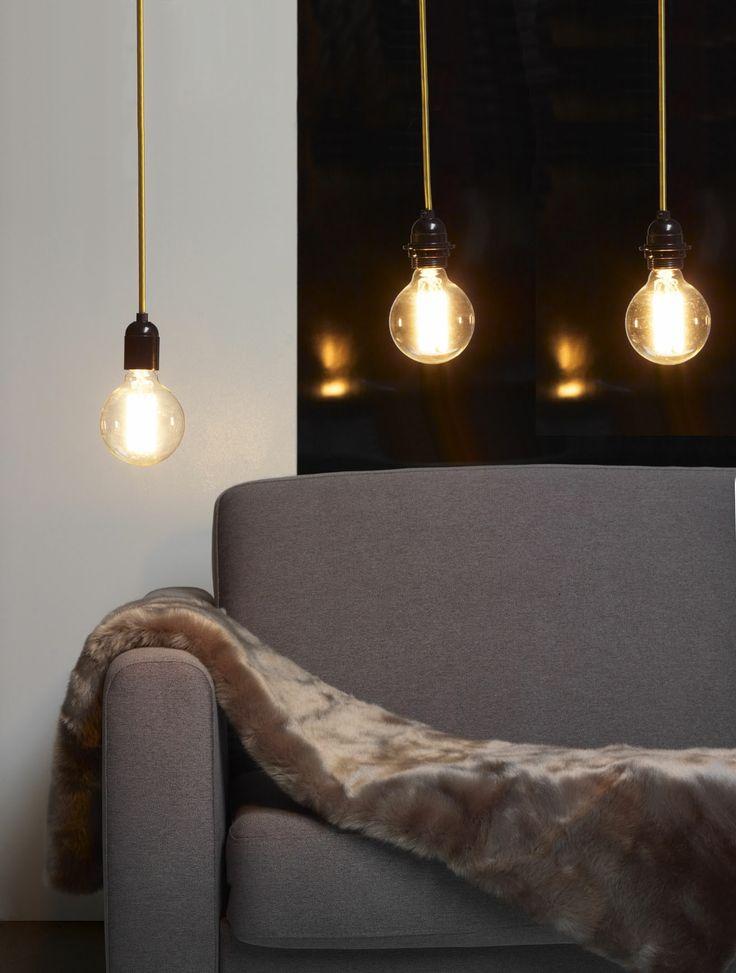 suspension design avec ampoule apparente et fil d cor or la suspension d covision pinterest. Black Bedroom Furniture Sets. Home Design Ideas
