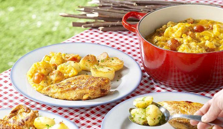 Kampkip met bloemkool en gebakken aardappelen