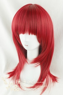 Kyouko wig daily cosplay wildcard burgundy closing face models straight hair 50cm-Taobao