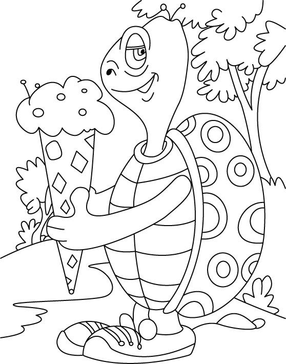 Turtle Relishes Cone Ice Cream Coloring Pages