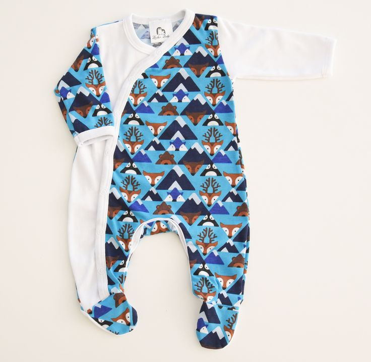 Blue Fox Baby Grow | Keeko Baby The iconic Keeko Crossover Baby Grow, in comfy stretchy cotton and with an easy change pattern is a must-have for babies!  The soft, cosy and stretchy fabric moves with your precious one.  The easy change pattern means you can change busy baby fast (perfect for those late night napppy changes!)  Choose from a great range of basic and bright colours and pop prints.