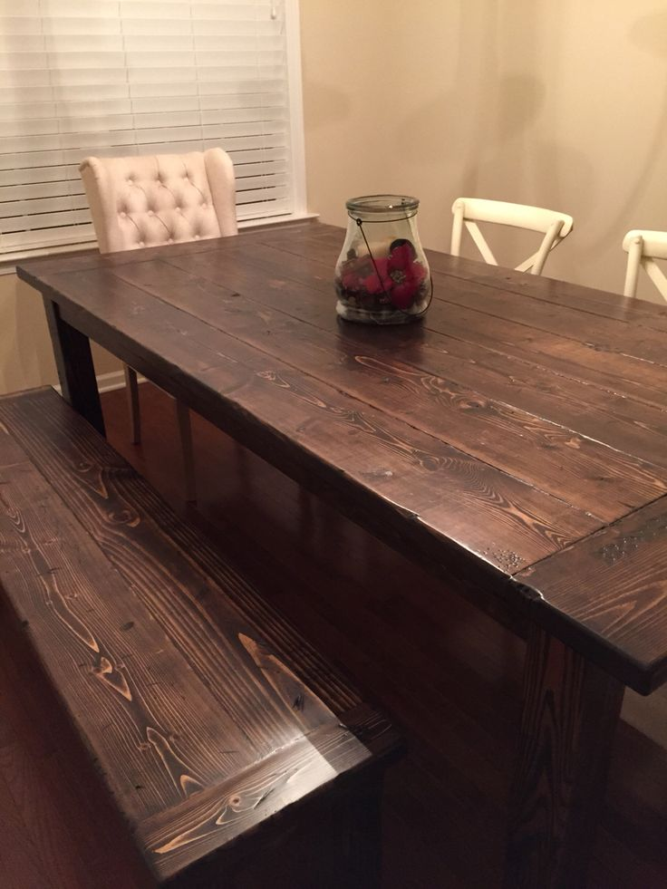 Farmhouse Dining Room Table And Bench Made Using 2x8s For