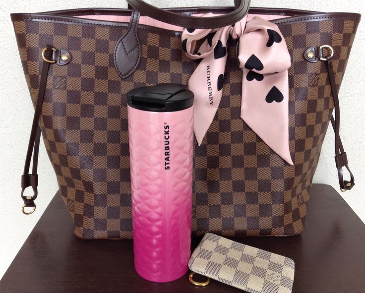 Louis Vuitton rose ballerine damier ebene neverfull mm, pink and black heart Burberry skinny scarf, pink ombre Starbucks tumbler