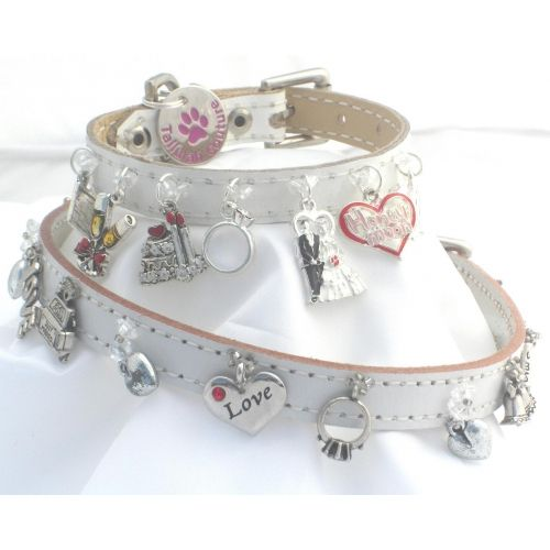White leather wedding dog collars,  these sweet handmade dog collars are  decorated with iconic wedding charms. The perfect finishing touch for your pampered pooch - available on artsydog. com