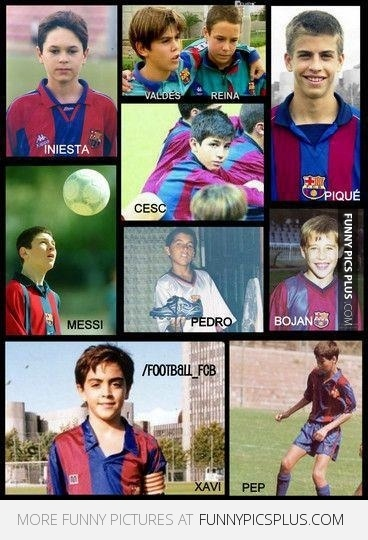 Barcelona players when young