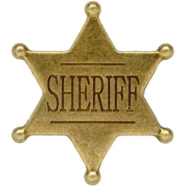 Six point ball tipped Sheriff badge by