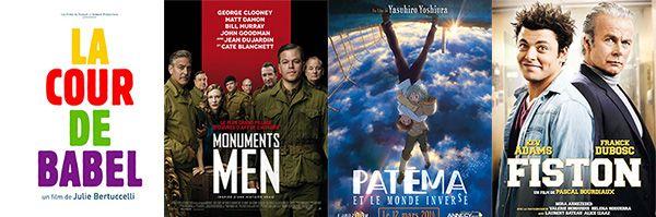 Mercredi 12 mars 2014, c'est ciné sur Enfant.net. Nouveaux films sortis cette semaine:La Cour de Babel; Monuments Men; Patéma et le monde inversé ; Fiston...