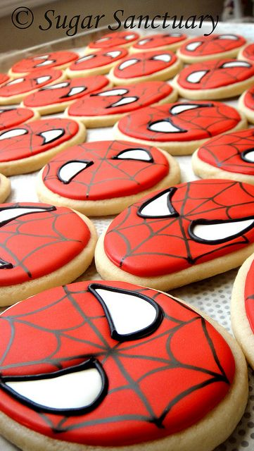 These wi be made for u on ur birthday... Sugar cookies lots of Icing I think I'll love that haha  Spider-Man sugar cookies