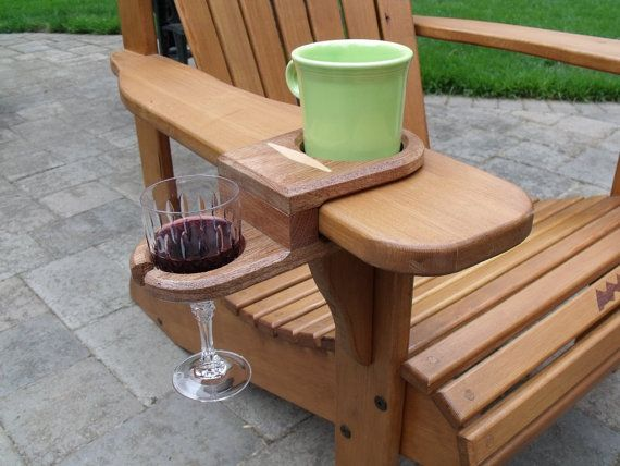 Cup and Wine glass holder for Adirondack Chair ~ Works on almost any chair that has 5/4 thick armrest.