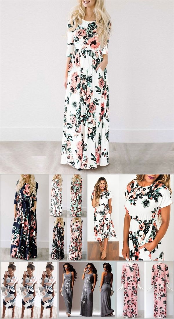 bcfdb6cbe4532 2019 Summer Long Dress Floral Print Boho Beach Dress Tunic Maxi Dress Women  Evening Party Dress Sundress Vestidos de festa XXXL