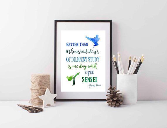 Sensei Quote Art Print Karate Teacher Gift Japanese Proverb