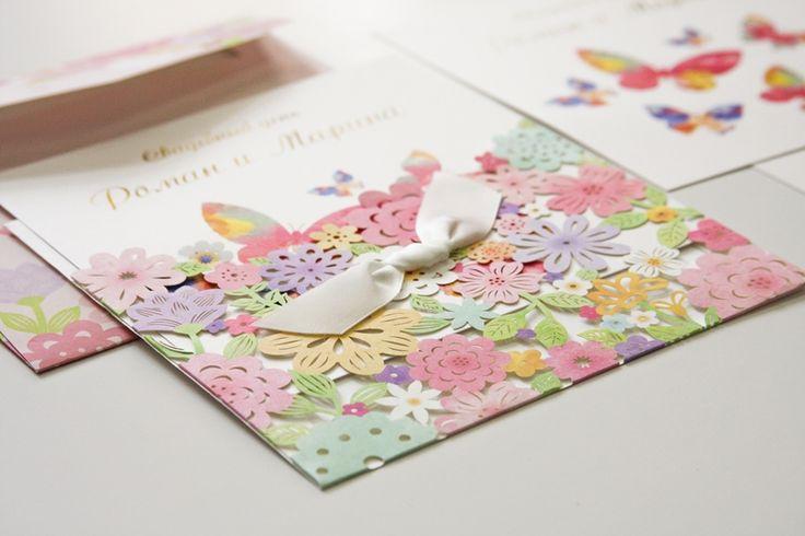Пригласительные на свадьбу Цветы и Бабочки