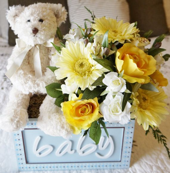 Bouncing Baby Bear (in blue) - Premium Silk Floral Arrangement for Baby shower or new mom