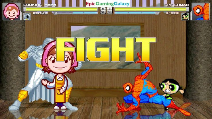Spider-Man And Buttercup The Powerpuff Girl VS Cooking Mama & Moon Knight In A MUGEN Match / Battle This video showcases Gameplay of Moon Knight The Superhero And Cooking Mama VS Buttercup The Powerpuff Girl From The Powerpuff Girls Series And Spider-Man The Superhero In A MUGEN Match / Battle / Fight