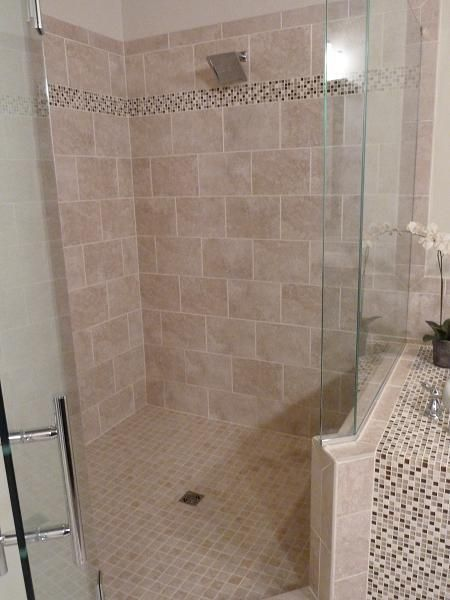 Master Bathroom Tile Shower In Tampa Florida 9x18 Porcelain Wall Tile With Mixed Mosaic Glass