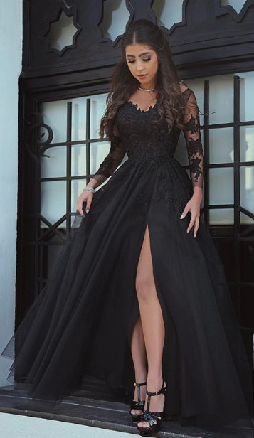 Long Sleeve Lace Prom Dress,Long Prom Dresses,Prom Dresses,Evening Dress, Prom Gowns, Formal Women Dress,prom dress